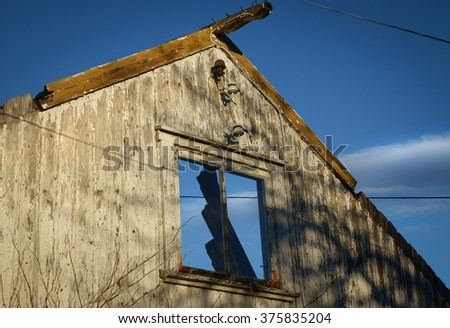 Detail of Abandoned wrecked house - stock photo