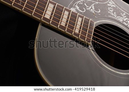 Detail of acoustic Classic Wood Guitar, selective focus