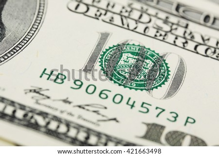 Detail of american hundred dollar bill