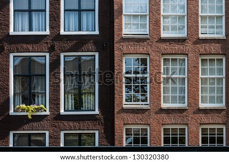 Detail of Amsterdam houses in Netherlands