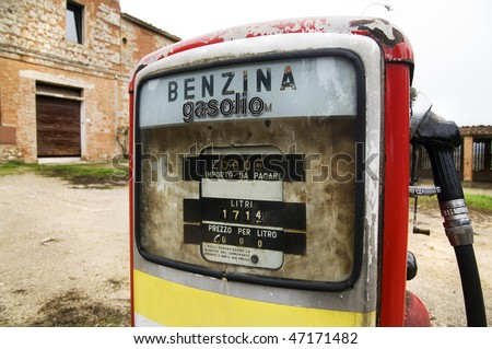 Detail of an abandoned gas pump - stock photo