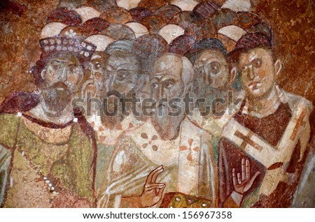 Detail of an ancient byzantine fresco of the council of Nicaea. From the church of St Nicholas, Demre, Southern Turkey - stock photo