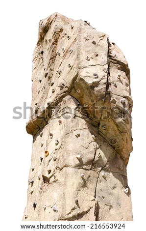 Detail of an artificial climbing wall isolated over white - stock photo