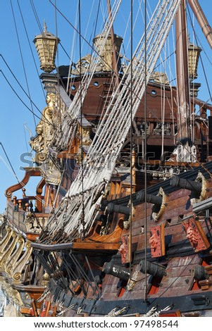 Detail of an historical galleon moored in the port of Genova, Italy - stock photo