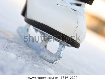 Detail of an ice skate on a lake in winter