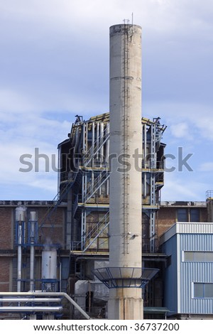 Detail of an industrial plant with chimney