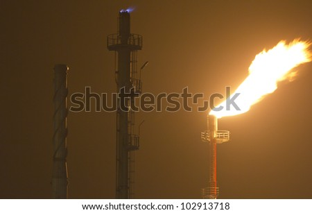 Detail of an oil-refinery plant - stock photo