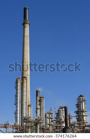 Detail of an oil refinery plant - stock photo