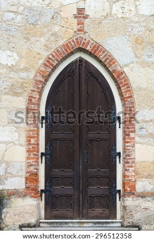Detail of an old church door - stock photo