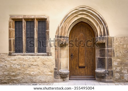 Detail of an old, historical Facade with typical stone seats from the 16th century in the medieval town Naumburg, Germany, late gothic style. - stock photo