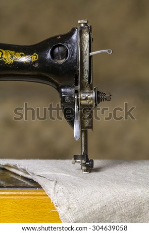 Detail of an old sewing machine. - stock photo
