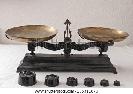 Detail of an old weigh scales - stock photo