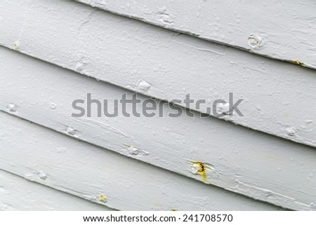 Detail of an old white wooden boat hull - stock photo