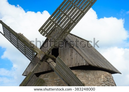 Detail of an old windmill on  Gotland island Sweden - stock photo