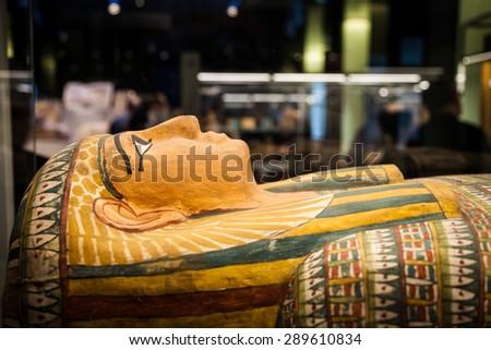 Detail of an original Egyptian sarcophagus - stock photo