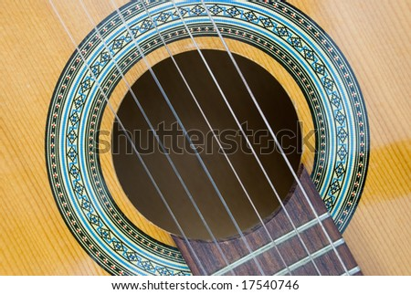 Detail of an used acoustic guitar. - stock photo