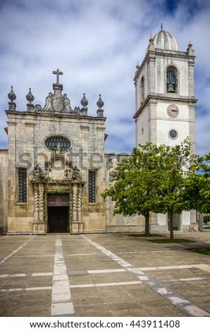 Detail of ancient Aveiro Cathedral in Portugal - stock photo