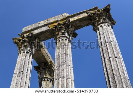 detail of ancient temple of Evora