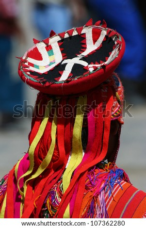 Detail of andean dancer clothes - stock photo
