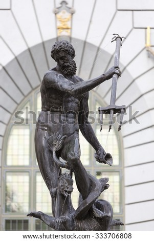 Detail of antique statue of Poseidon on the main public square in Gdansk, Poland - stock photo