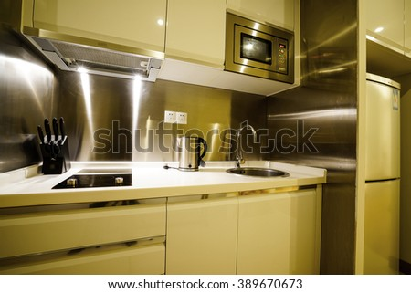 Detail of apartment kitchen.