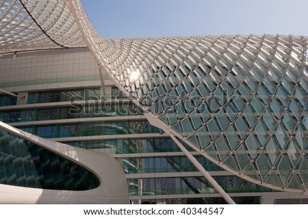 Detail of Architecture of Yas Marina Hotel in Abu Dhabi - stock photo