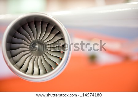 detail of areoplane model engine. - stock photo