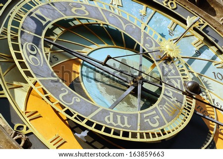Detail of astronomical clock hours Czech Republic