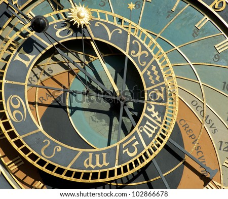 Detail of astronomical clock in Prague, Czech republic - stock photo
