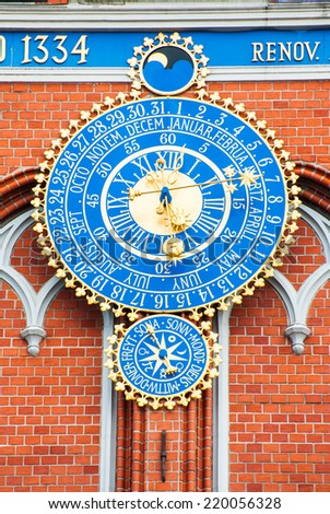Detail of astronomical clock on the House of Blackheads, Riga, Latvia - stock photo