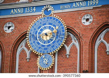 Detail of astronomical clock on the House of Blackheads, Riga, Latvia. - stock photo