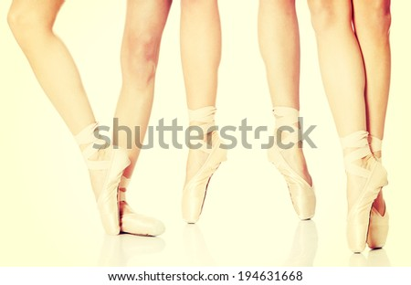 Detail of ballet dancer's feet - stock photo