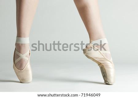 detail of ballet dancer''s feet - stock photo