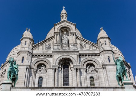 Detail of Basilica Sacre Coeur  - Roman Catholic church and minor basilica, dedicated to Sacred Heart of Jesus. Paris, France.