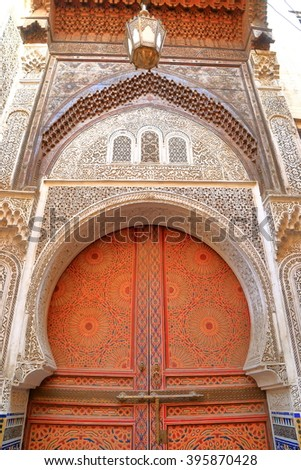 Detail of beautiful Berber gate in the Medina of Fes, Morocco - stock photo