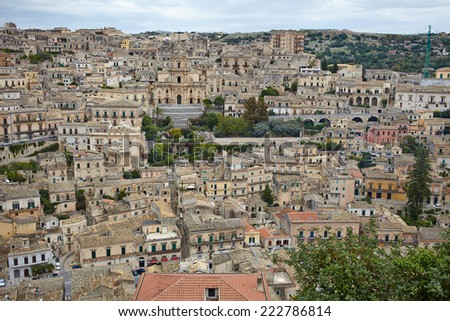 Detail of beautiful houses in town Modica, Sicily, Italy - stock photo