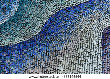 Detail of beautiful old collapsing abstract ceramic mosaic adorned building. Venetian mosaic as decorative background. Selective focus. Abstract Mosaic Pattern. Abstract mosaic colored  ceramic stones