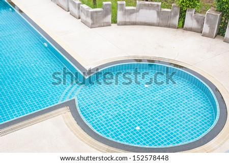 detail of beautiful swimming pool. - stock photo