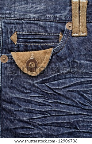 Detail of blue jeans - stock photo