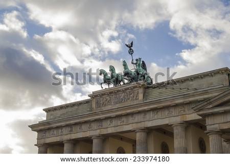 Detail of Brandenburg Gate and the Quadriga bronze statue. - stock photo