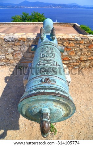 Detail of bronze canon defending old fortress in Saint Tropez, French Riviera, France - stock photo