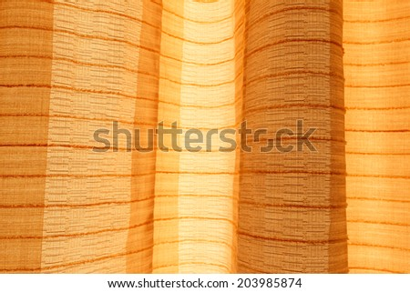 Detail of brown curtain  Curtain background - stock photo