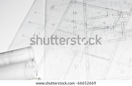 Detail of building project, architecture plans rolled, all isolated - stock photo