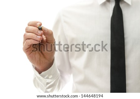 Detail of businessman writing on virtual screen. With empty space ready for your text or logo. - stock photo