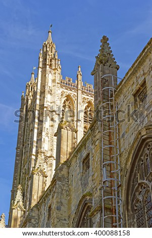 Detail of Canterbury Cathedral in Canterbury in Kent of England. It is one of the most famous cathedrals in England. It is the Archbishop of Canterbury Cathedral. - stock photo