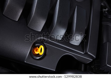 Detail of car engine, check oil - stock photo
