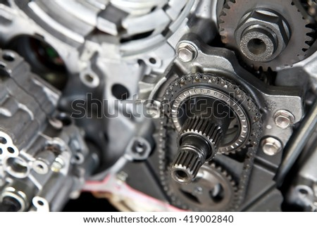 Detail of car engine part. - stock photo