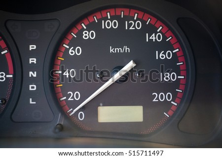 Detail of car speedometer