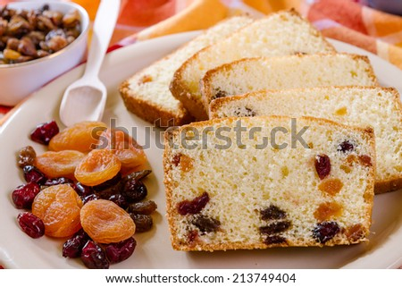 Detail of christmas cake with dried Fruit - stock photo