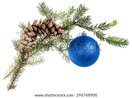 detail of christmas frame - twig of fir tree with cone and blue ball on white background - stock photo